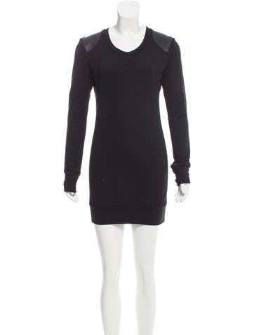 Torn by Ronny Kobo Leather-Accented Mini Dress None