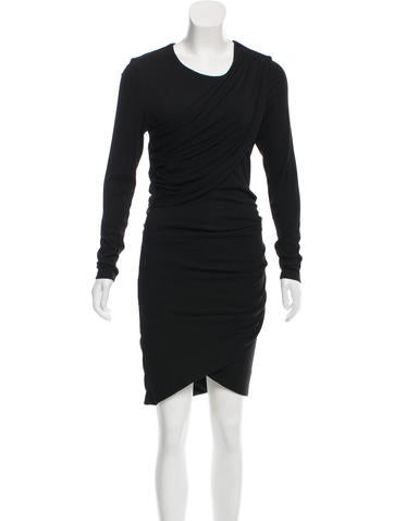 Torn by Ronny Kobo Rib Knit Drape-Accented Dress None
