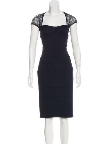 Tadashi Sleeveless Lace-Accented Dress None