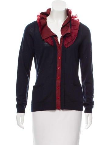 Tahari Ruffle-Trimmed Knit Cardigan None