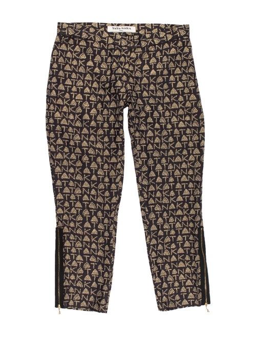 Tata Naka Animal Print Straight Leg Pants Black - image 1