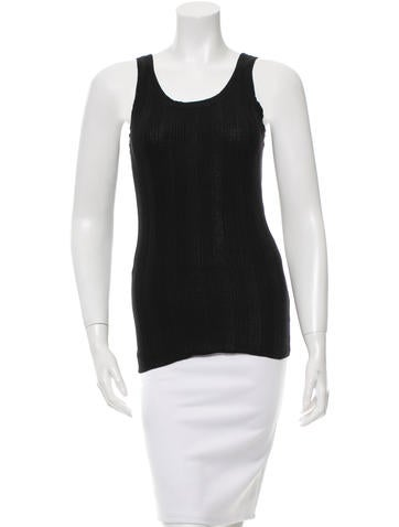 T by Alexander Wang Rib Knit Scoop Neck Top None