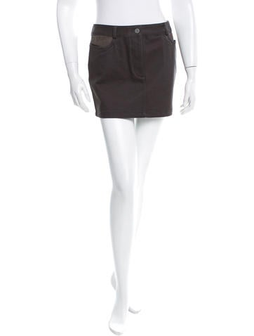 T by Alexander Wang Leather Panel Denim Skirt w/ Tags None