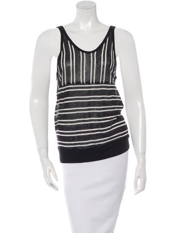 T by Alexander Wang Striped Scoop Neck Tank Top None