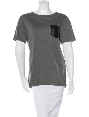 Leather-Accented Oversize T-Shirt