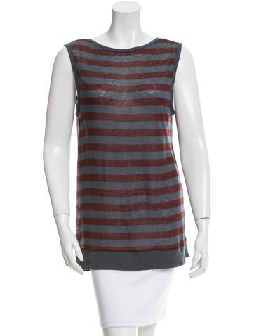 T by Alexander Wang Striped Sleeveless Top None