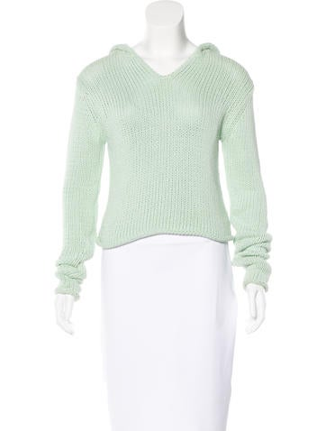 T by Alexander Wang Hooded Cropped Sweater None