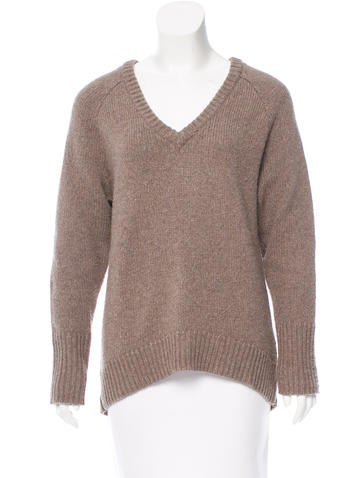 T by Alexander Wang V-Neck Rib Knit-Trimmed Sweater None