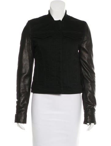T by Alexander Wang Leather-Accented Button-Up Jacket None