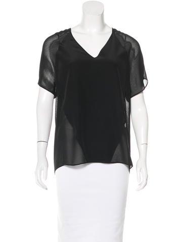 T by Alexander Wang Silk Short Sleeve Top None