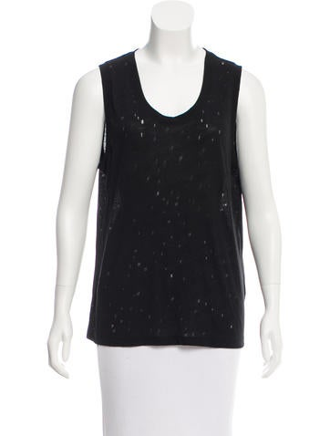 T by Alexander Wang Distressed Sleeveless Top None