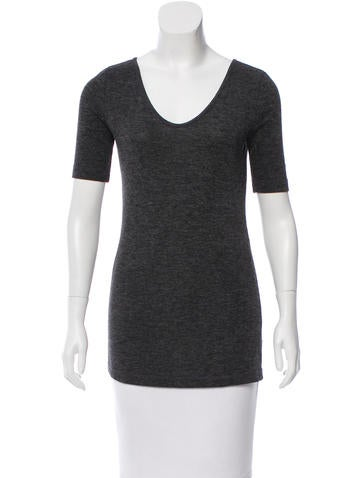 T by Alexander Wang Scoop Neck Short Sleeve Top None