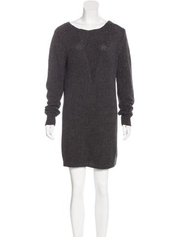 T by Alexander Wang Long Sleeve Rib Knit Dress None