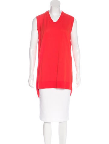T by Alexander Wang Rib Knit-Trimmed Tunic Top None