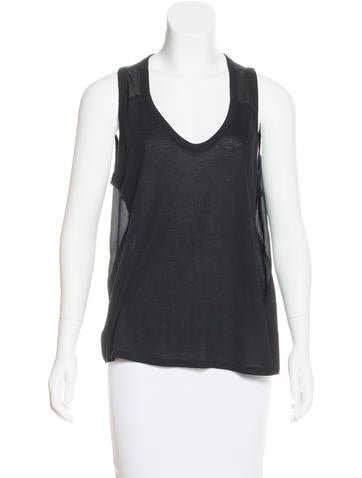 T by Alexander Wang Silk-Paneled Sleeveless Top None