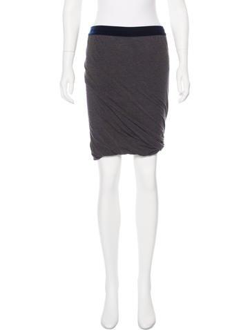 T by Alexander Wang Knit Velvet-Trimmed Skirt None