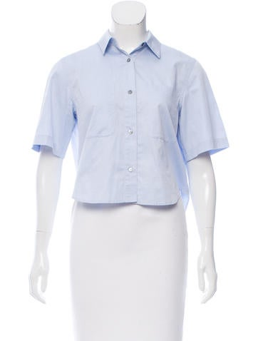 T by Alexander Wang Button-Up Crop Top None