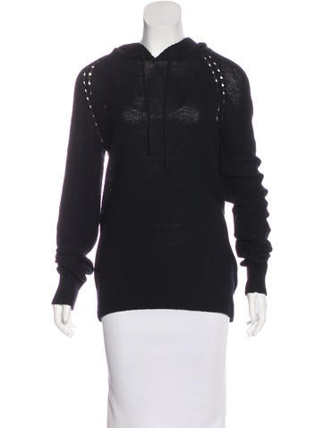 T by Alexander Wang Hooded Open Knit Sweater None