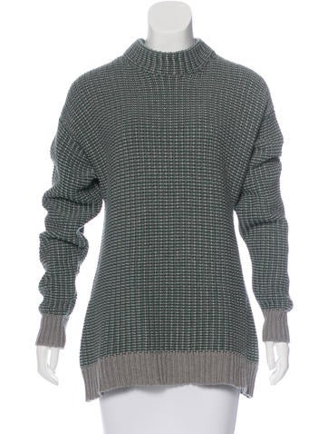 T by Alexander Wang Mock Neck Rib Knit Sweater None