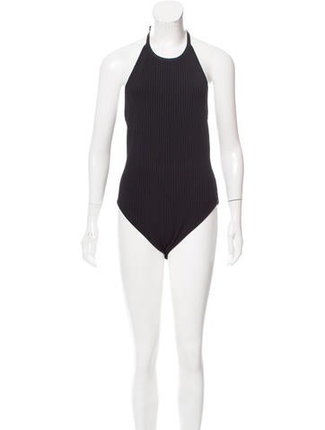 T by Alexander Wang Rib Knit Halter Bodysuit None