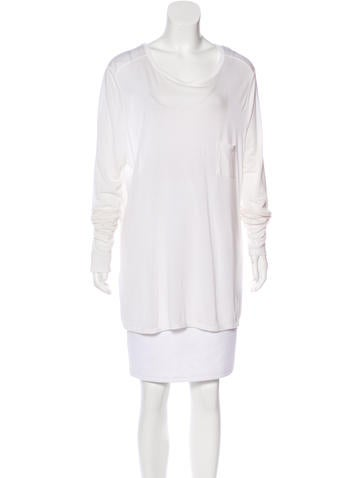 T by Alexander Wang Long Sleeve Scoop Neck Top None