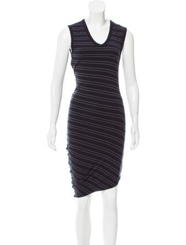 T by Alexander Wang Striped Midi Dress None