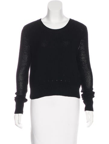 T by Alexander Wang Cropped Long Sleeve Sweater None