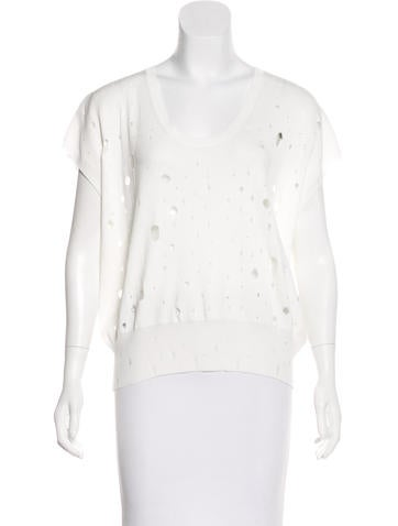 T by Alexander Wang Distressed Knit Sweater None