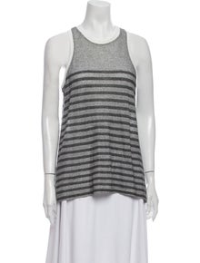 T by Alexander Wang Striped Scoop Neck Top