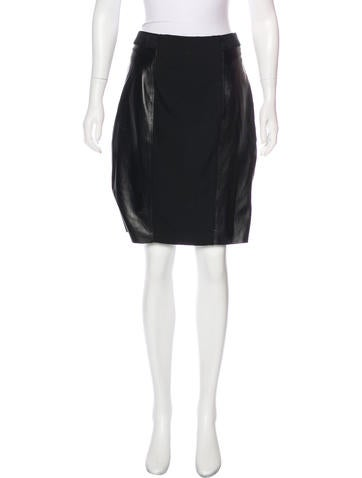 Tracy Reese Leather-Accented Pencil Skirt None