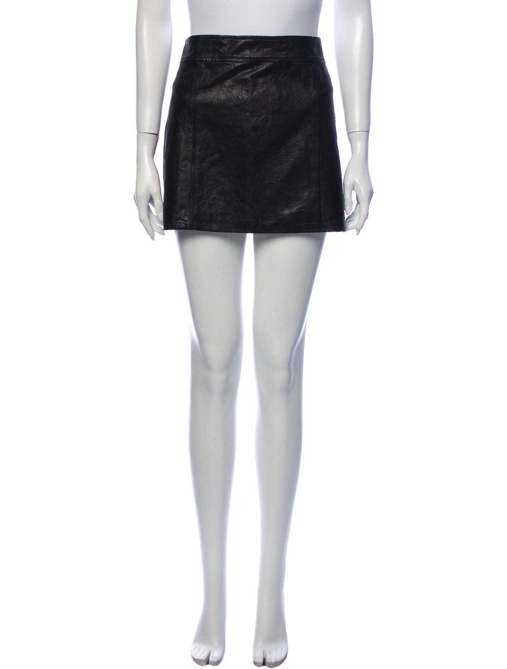 Theory Leather Mini Skirt Black - image 1