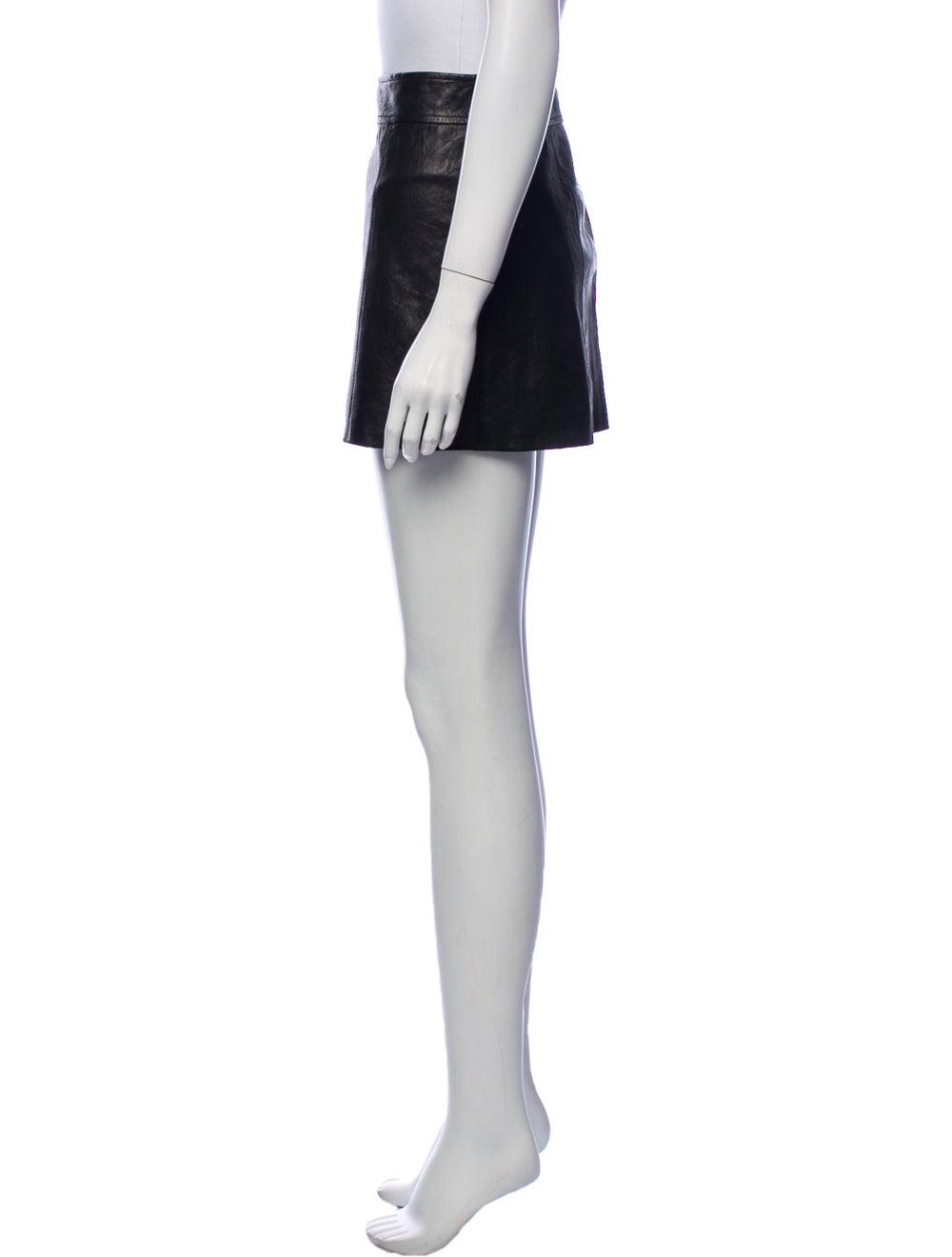 Theory Leather Mini Skirt Black - image 2