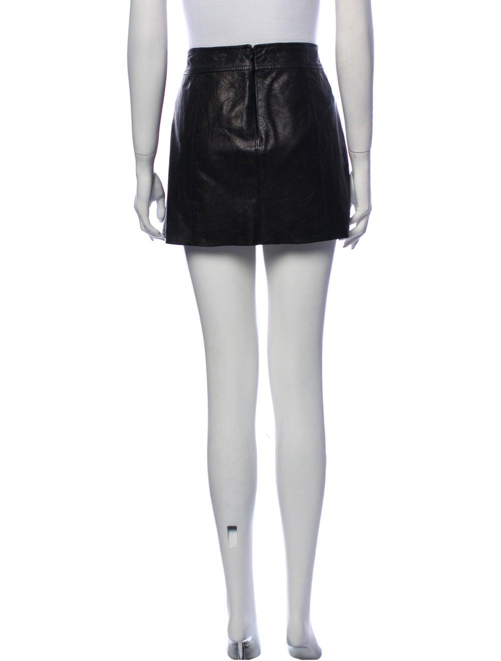 Theory Leather Mini Skirt Black - image 3