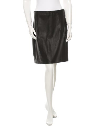 Theory Leather Skirt None