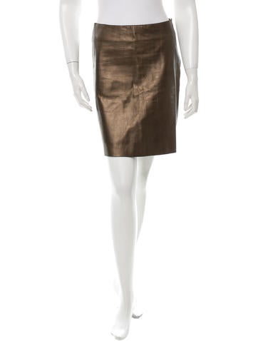 Theory Metallic Leather Skirt None