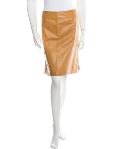 Theory Leather Pencil Skirt None