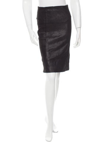 Theory Suede Pencil Skirt None