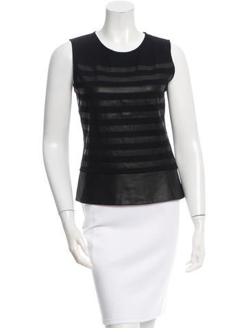 Theory Leather-Accented Sleeveless Top None
