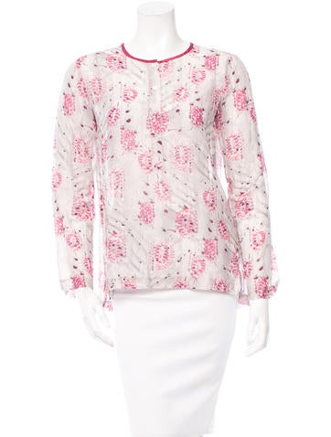 Theory Printed Button-Up Top None