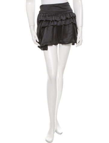 Theory Satin Ruffle-Trimmed Skirt None