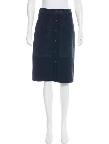 Theory Suede-Accented Knee-Length Skirt w/ Tags