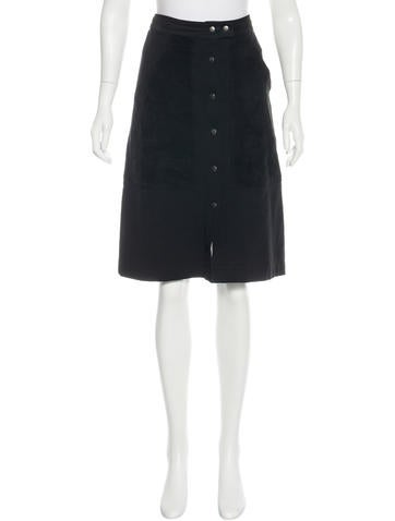 Theory Suede-Trimmed A-Line Skirt None