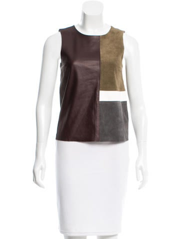 Theory Leather Patchwork Top None