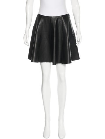 Theory Flared Leather Skirt None