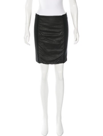 Theory Leather-Trimmed Pencil Skirt None