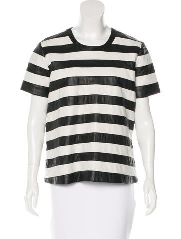 Theory Leather Striped Top None