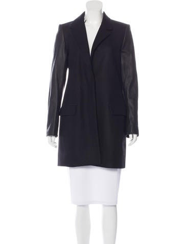 Theory Leather-Paneled Virgin Wool Coat w/ Tags None