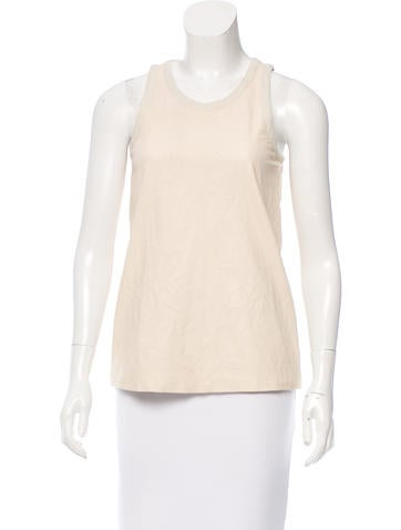 Theory Sleeveless Leather Top None