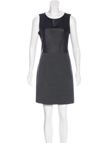 Theory Leather-Paneled Mini Dress