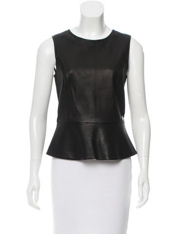 Theory Peplum Leather Top None